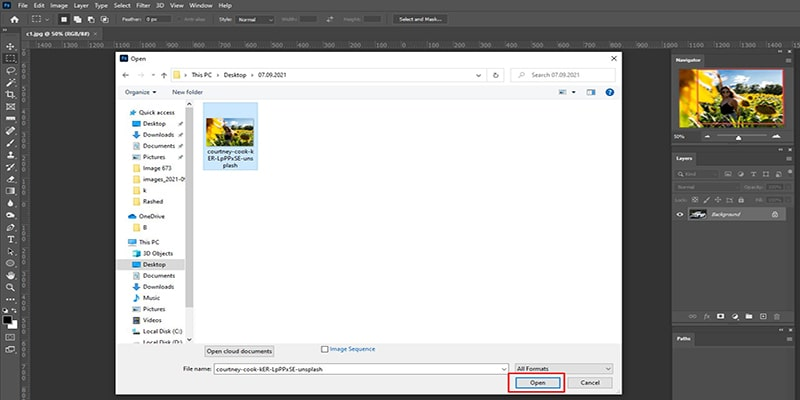 Open a picture to Blur Background in Photoshop
